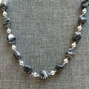 Silver tone and grey beaded necklace